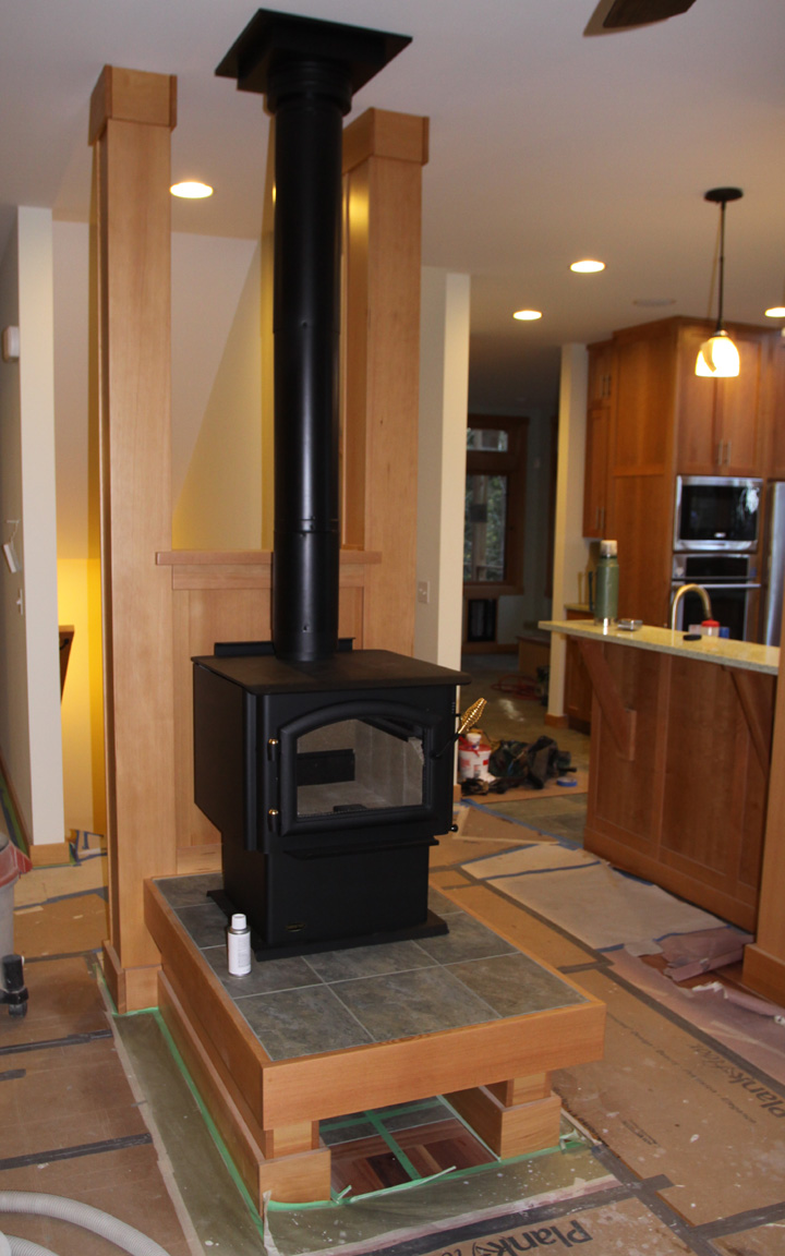 this is the woodstove installed on its hearth